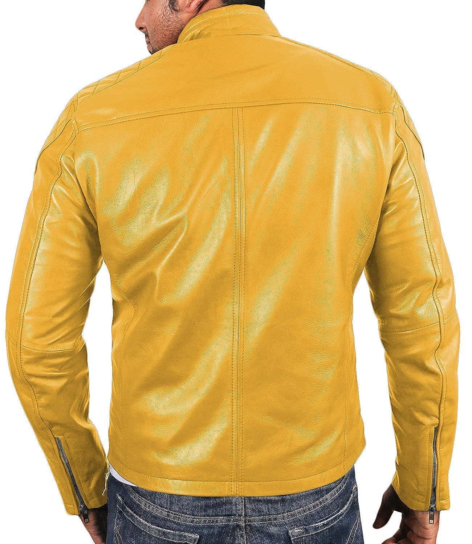 Laverapelle la de los hombres piel de cordero de Real Cuero Chaqueta Amarillo 1510225 2XL: Amazon.es: Ropa y accesorios
