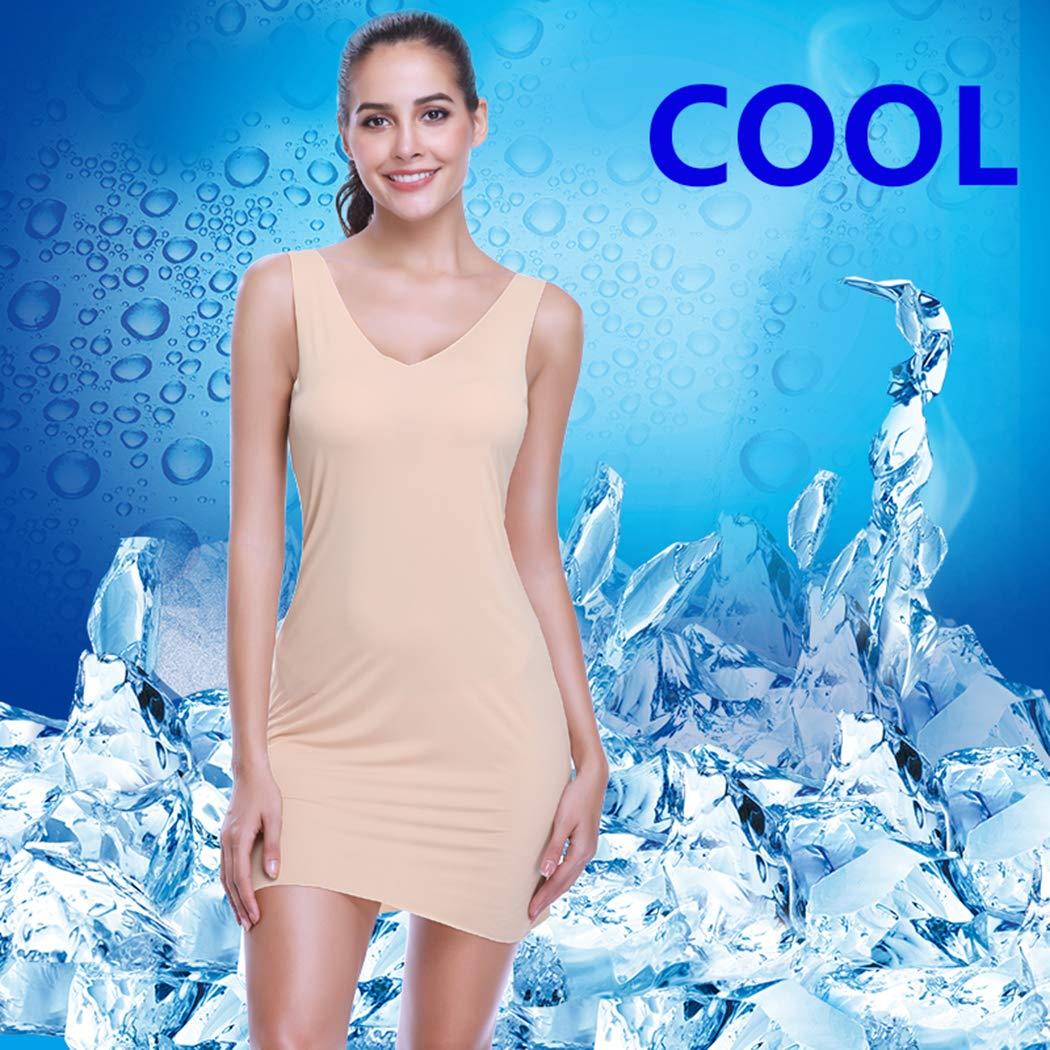 447ae1da460ff ... Full Slips for Women Long Body Shaping Cami Slip Seamless Slimming Deep  V Slip Under Dresses ...