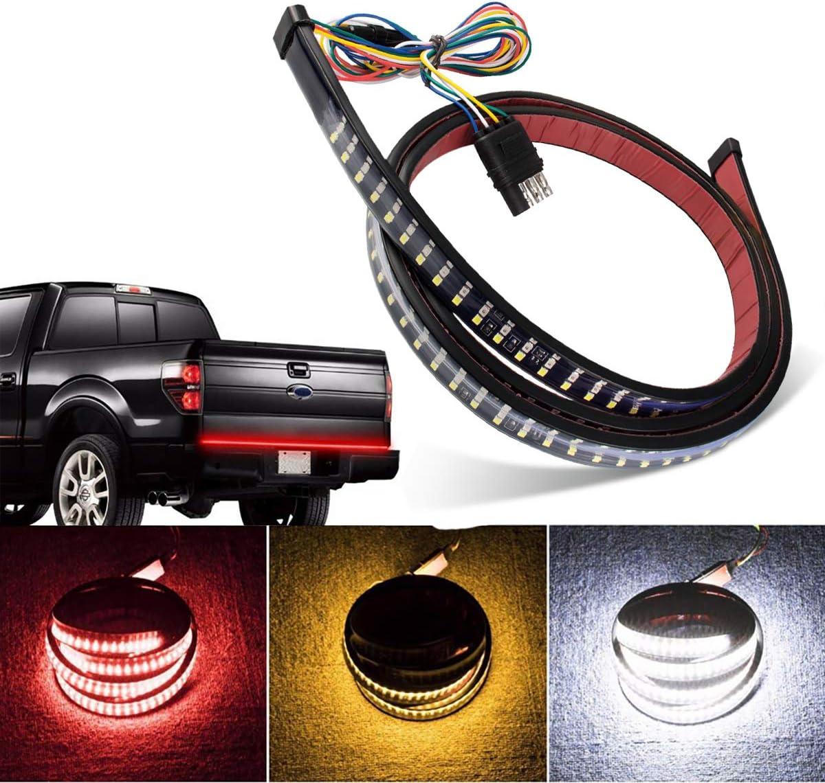 LED Tailgate Light Bar Triple 60 inchs Red Brake White Reverse Amber Turn Signal Strobe Light Running Light Brake Light Turn Signal Light Reverse Light