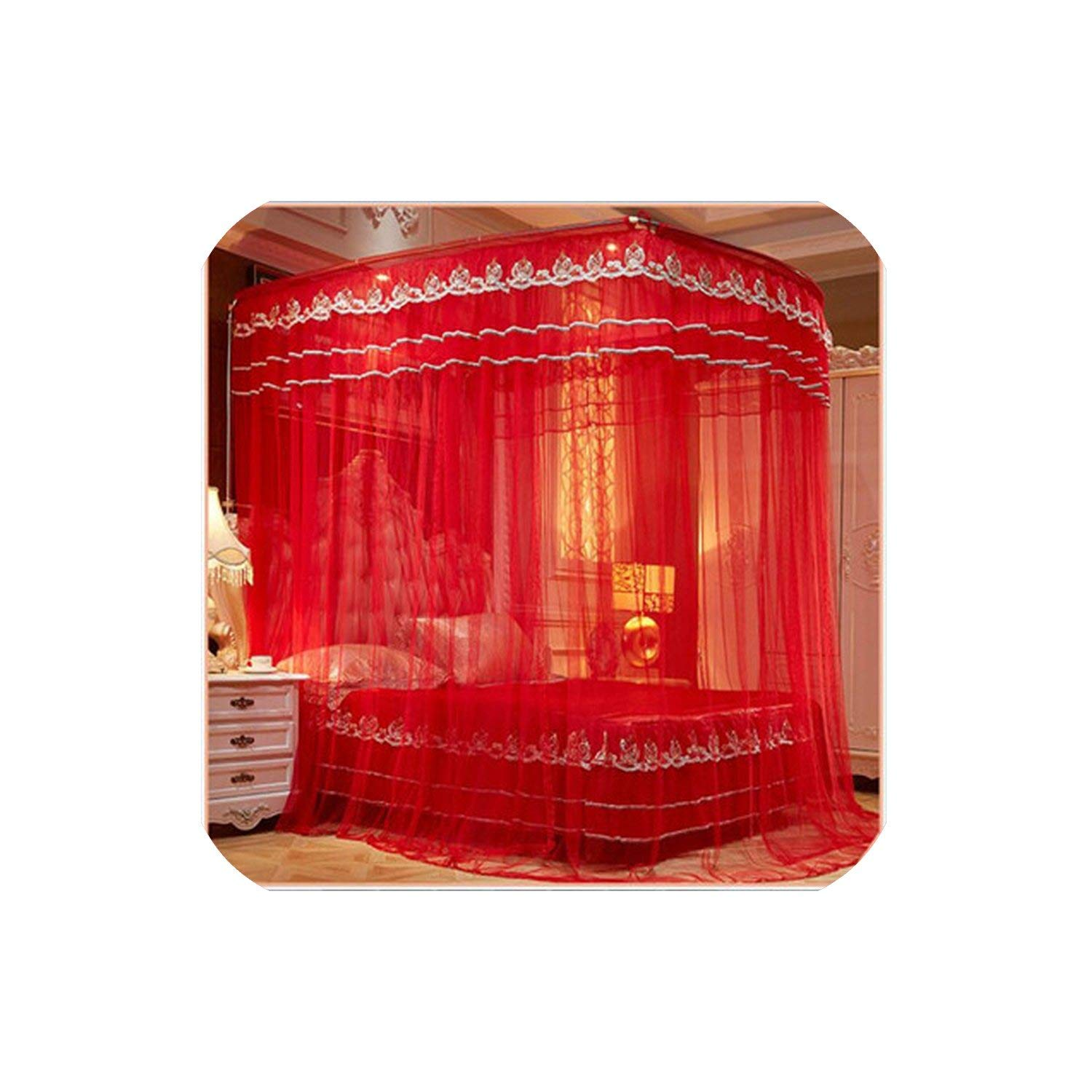 Fishing Rod Retractable Three Door Palace Mosquito Net Floor Standing Anti Mosquito Wedding Nets,Wedding Red Color,1.8Mwx2Mlx2.1Mh