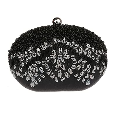 KAXIDY Vintage Seed Beaded Wedding Bag Party Clutch Prom Flower Evening Handbag (Black): Handbags: Amazon.com