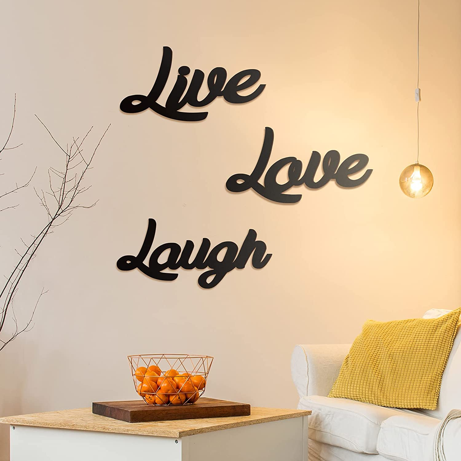3 Pieces Wooden Cutout Sign Rustic Wood Word Sign Decorative Wooden Block Word Signs Wooden Letter Sign Freestanding Wood Sign Farmhouse Home Decor for Living Room Wall Decor (Live, Love, Laugh)