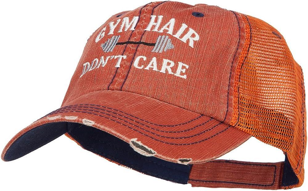 e4Hats.com Gym Hair Dont Care Embroidered Cotton Mesh Cap