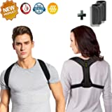 JIAHCN Posture Corrector for Women&Men, Adjustable Posture Brace for Clavicle Support, Upper Back Brace for Thoracic Kyphosis with Detachable Pads to Relive Back and Neck (33-41'')(Black)