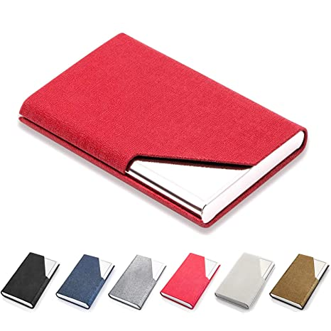 079b2862f408 Business Card Holder Luxury PU Leather & Stainless Steel Business Card Case  Wallet Credit Card ID Case/Holder for Men & Women,Red