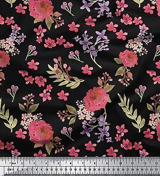 b99a5e0744a6 Soimoi Schwarz Viskose Chiffon Stoff Chrysantheme   Blute Blumen- Stoff  drucken Meter 42 Zoll breit