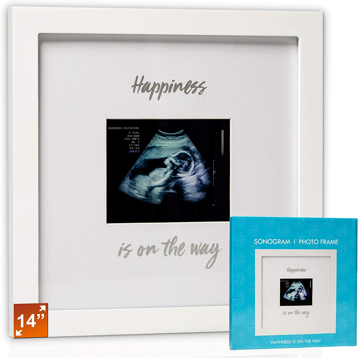 Idea Gift for Expecting Parents,Baby Shower Baby Sonogram Photo Frame 1st Ultrasound Picture Frame Silver Text, Black Gender Reveal Party,Baby Nursery Decor