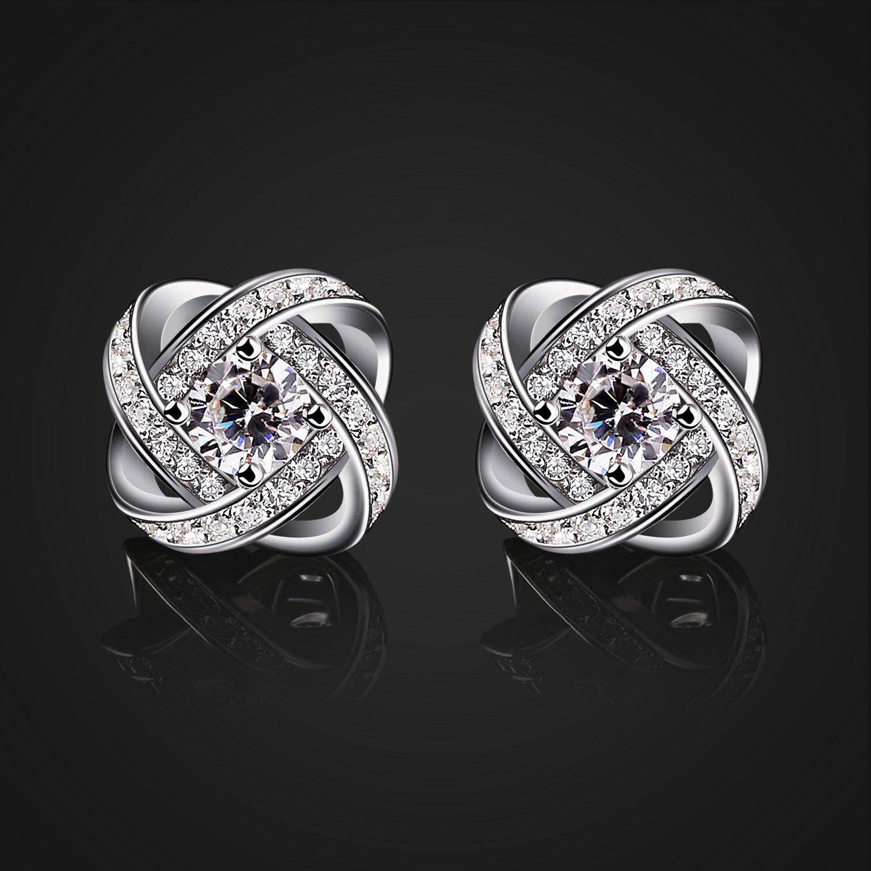 Gemini clous d/'oreilles Parfait pour les anniversaires B.Catcher Femme Boucles doreilles en argent La f/ête des m/ères Zirconium cubique Diamant/ées les mariages