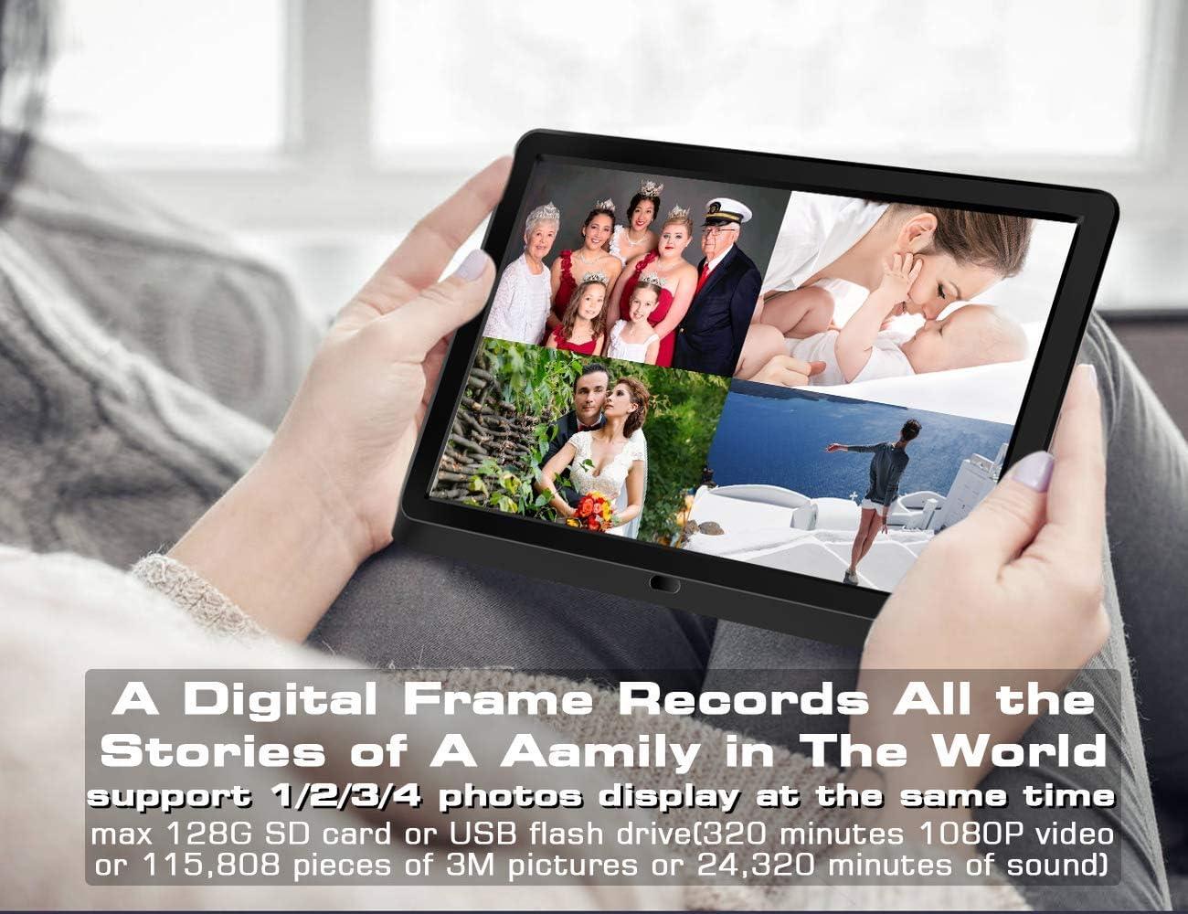 NAPATEK Digital Photo Frame 16:9 1920x1080 IPS Display 1080P FHD Video Playback Music Calendar Alarm Remote Control Support 128G SD-Black 8 Inch Digital Picture Frame