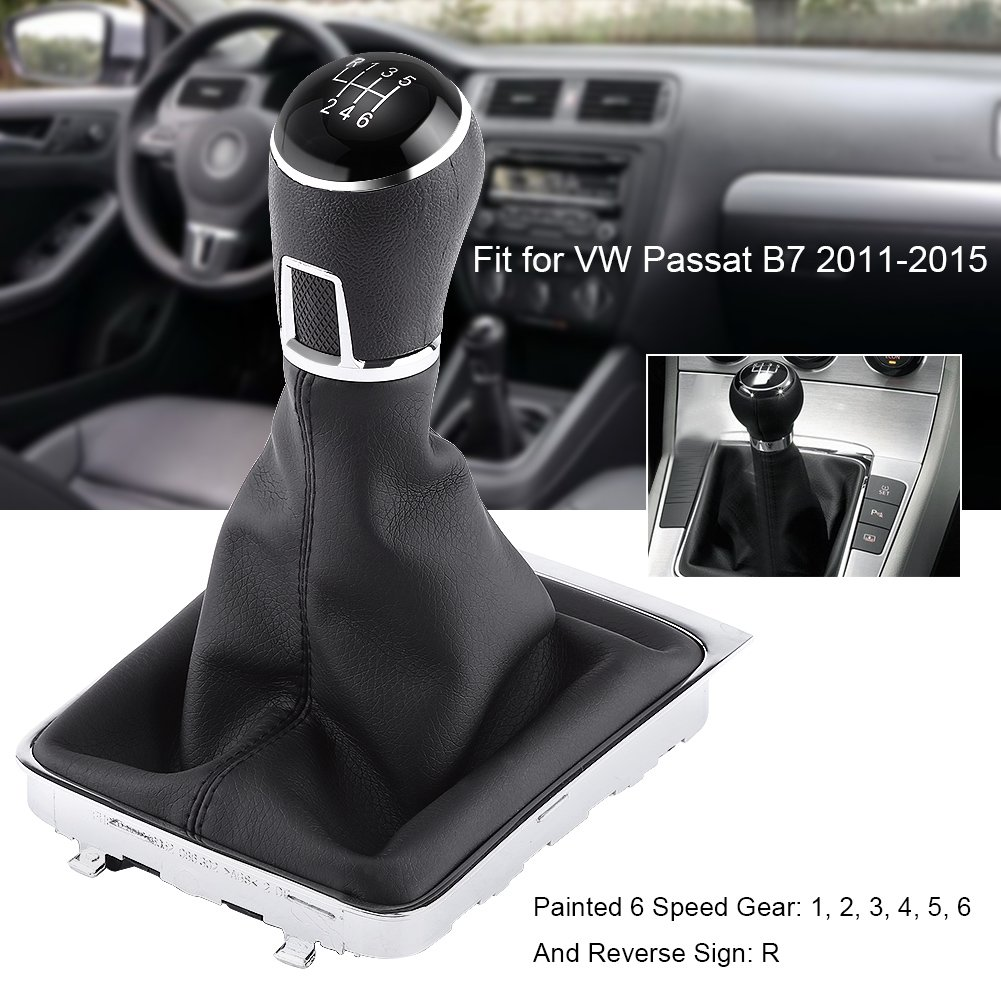 Manual 6 Speed Gear Shift Knob Gaiter Boot Cover Kit Black Leather Gear Stick Knob Cover for VW Passat B7 2011-2012 Keenso