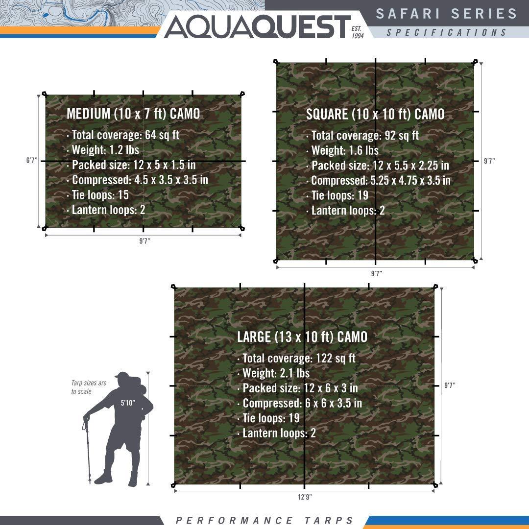 Aqua Quest SAFARI Toldo Mediano 3 x 2 m - Toldo tipo tienda para camping de nylon de silicona, Ligero, Impermeable, Compacto, Versátil y Duradero (Camo): ...