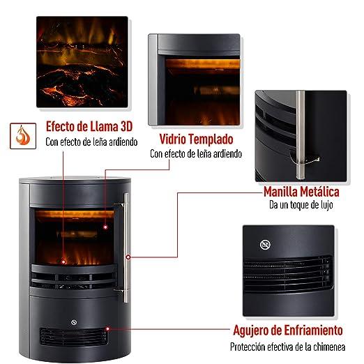 HOMCOM Chimenea Eléctrica Móvil Calefactor Estufa Eléctrica con Termostato 900W/1800W Efecto Fuego LED Temperatura Ajustable 41x41x64.5cm Acero: Amazon.es: ...