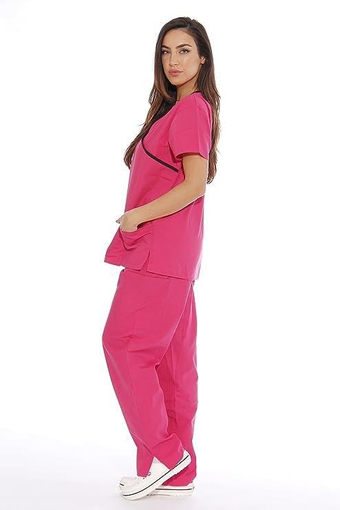Sólo el amor de la mujer de enfermero (/5 bolsillo elimina la uniformes médicos (Mock Wrap) - -: Amazon.es: Ropa y accesorios