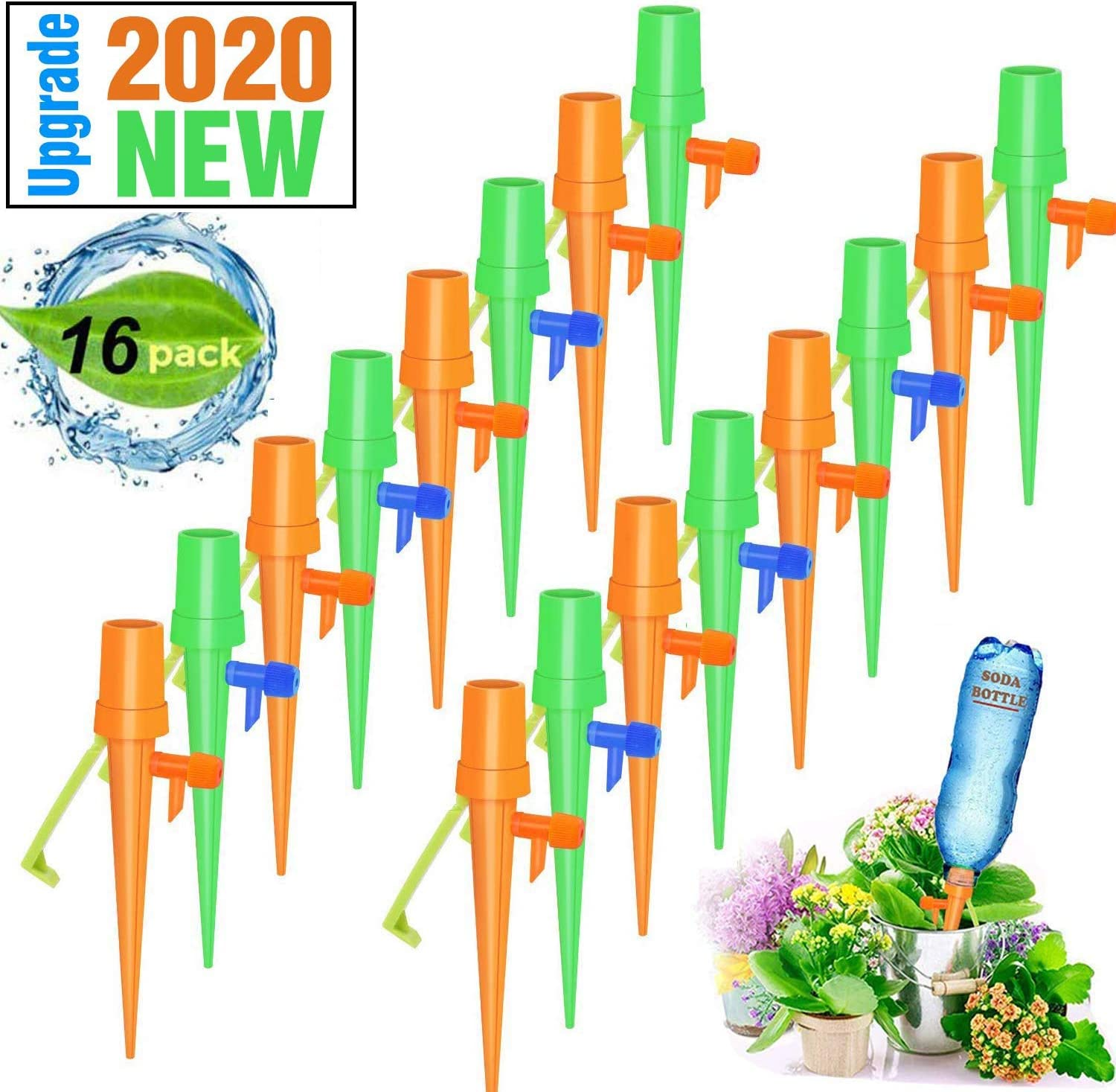 HomeMall 16 PCS Plant Self Watering Spikes System, Automatic Self Irrigation Watering Drip Devices with Slow Release Control Valve Switch for Indoor Outdoor Home and Office Flower or Vegetables