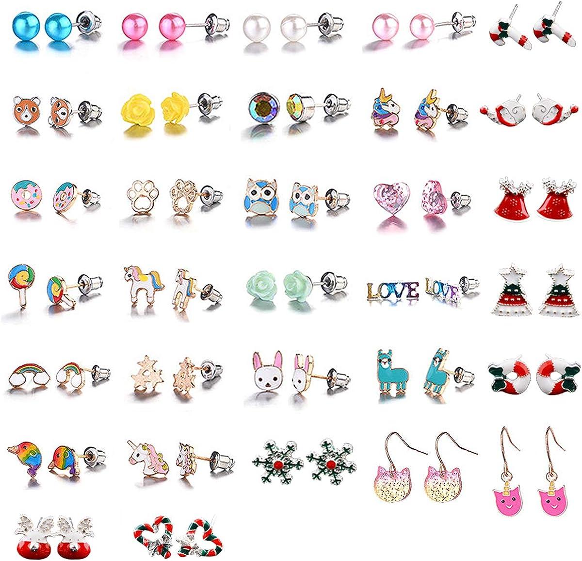 Hypoallergenic Earrings for Girls Kids, Colorful Stud Earrings, Animal Alpaca Rainbow Unicorn Cute Earring Jewelry Set Gifts for Girls Kids Women