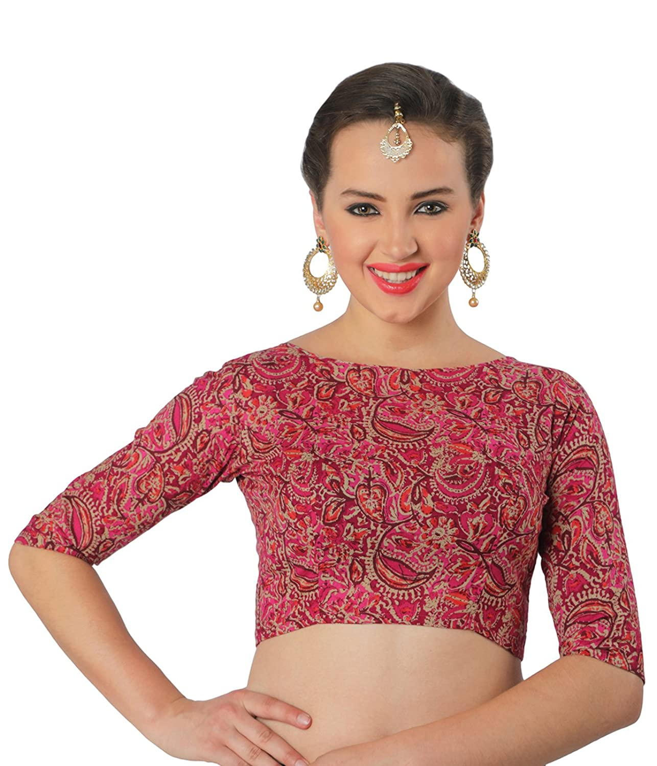 PRINTED PURE COTTON SAREE BLOUSE WITH ELBOW LENGTH SLEEVES