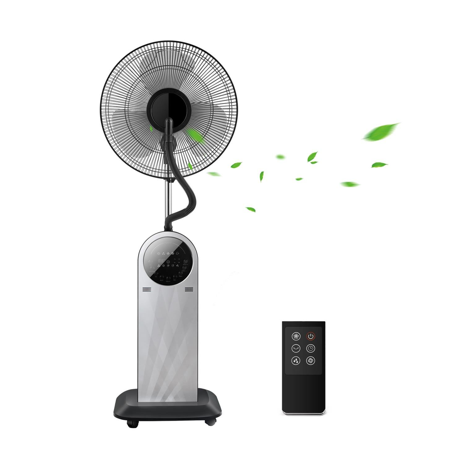 Aigostar Forest Mist 33JTU - Ventilatore a piantana. Funzione Umidificatore a E-ION. Display LED