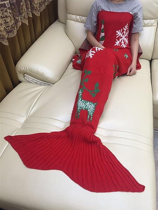 Navidad renos copos de nieve de cola de sirena manta edredón saco de dormir
