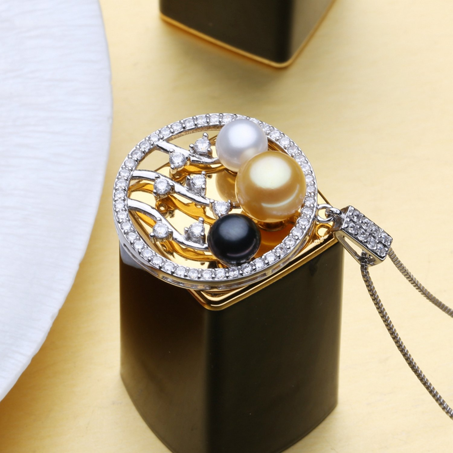 CS-DB Jewelry Silver Bohemian Pearl Beads Chain Charm Pendants Necklaces