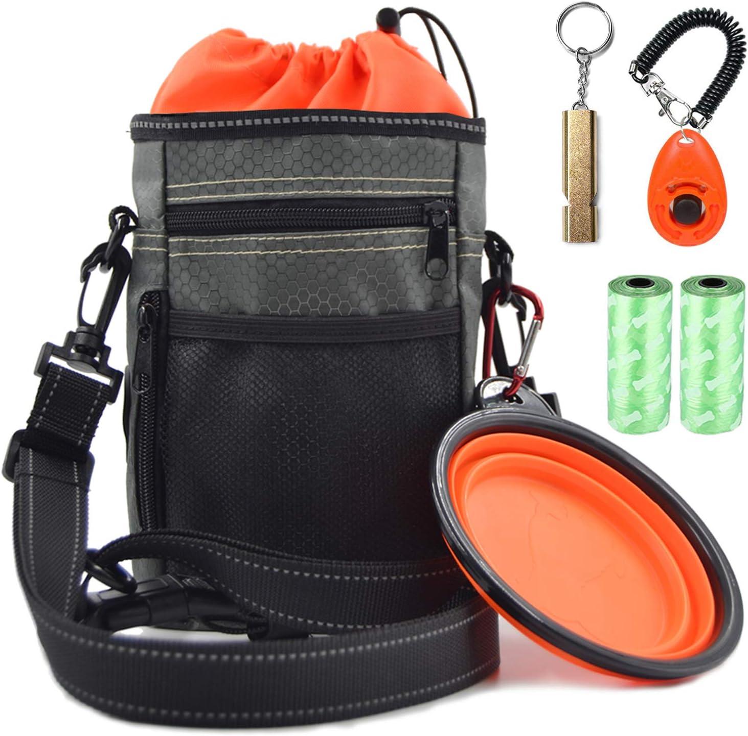 Vivi Bear Dog Treat Bag with Poop Bag Holder, Reflective & Waterproof Shoulder Strap Waist Belt - FREE Doggie Clicker, Training Whistle, Collapsible Feeder Bowl,Poop Bag - Dog Pouch Bag for Food, Toys