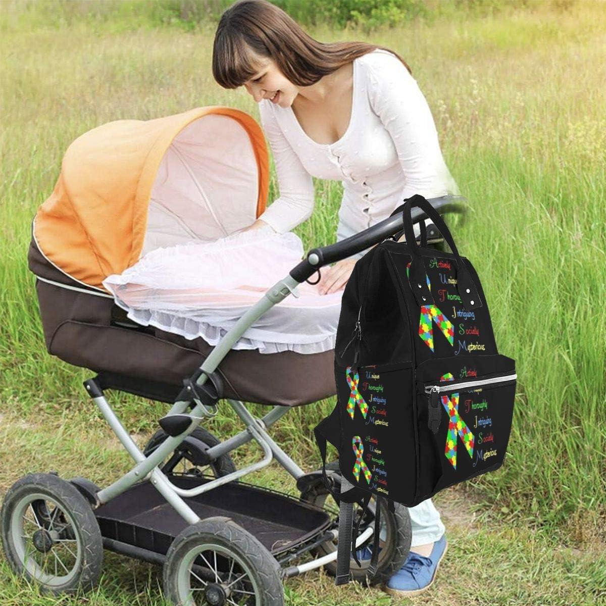 Autism Awareness Large Capacity Multipurpose Mummy Backpack Big Capacity Landscap Light Baby Diaper Bags