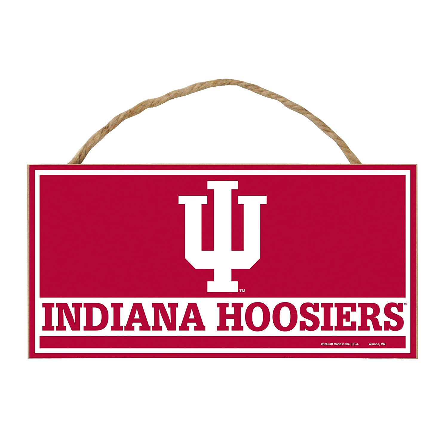 Multi 5 x 10-Inch WinCraft NCAA Indiana Hoosiers Hardboard Wood Signs with Rope