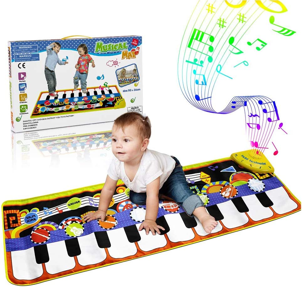 RenFox Kids Musical Mats, Music Piano Keyboard Dance Floor Mat Carpet Animal Blanket Touch Playmat Early Education Toys for Baby Girls Boys(43.3x14.2in): Toys & Games