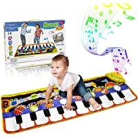 RenFox Kids Musical Mats, Music Piano Keyboard Dance Floor Mat Carpet Animal Blanket Touch Playmat Early Education Toys for Baby Toddler Infants Girls Boys(43.3x14.2in)