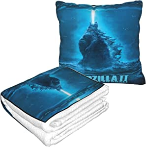 Xiongminqing Godzilla King of The Monsters Blanket and Pillow Premium Soft 2-in-1 Aircraft Blanket, Suitable for Traveling Home