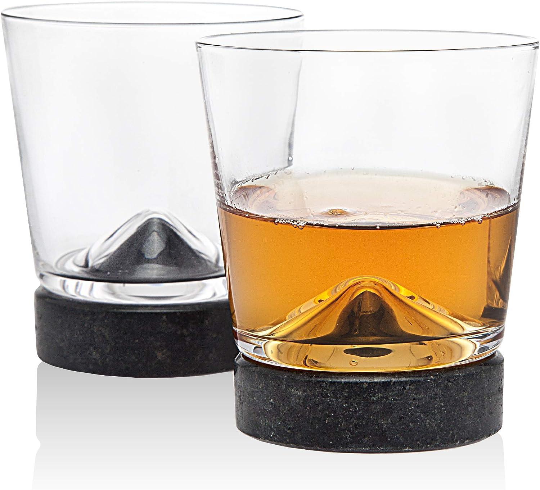 Godinger Whisky Glass Old Fashioned Tumbler and Cooling Stone Coaster - Set of 2