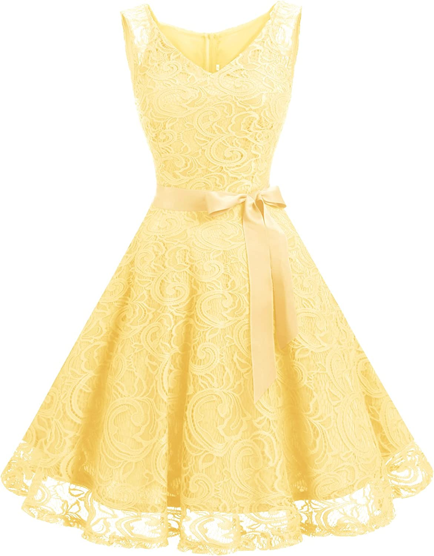 TALLA 3XL. Dressystar Vestido Corto Elegante Mujer De Encaje Sin Mangas con Lazo para Madrina Fietsa Yellow 3XL