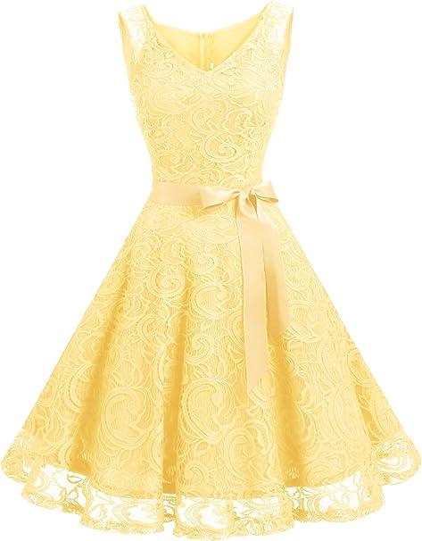 TALLA L. Dressystar Vestido Corto Elegante Mujer De Encaje Sin Mangas con Lazo para Madrina Fietsa Yellow