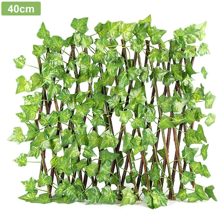 StageOnline Screening Trellis Garden Fence Artificial Ivy Privacy Screen Wall Leaf Hedge Fencing-Retractable Fence Expanding Durable Wooden Trellis Plant Privacy Screen For Garden Wall Decoration