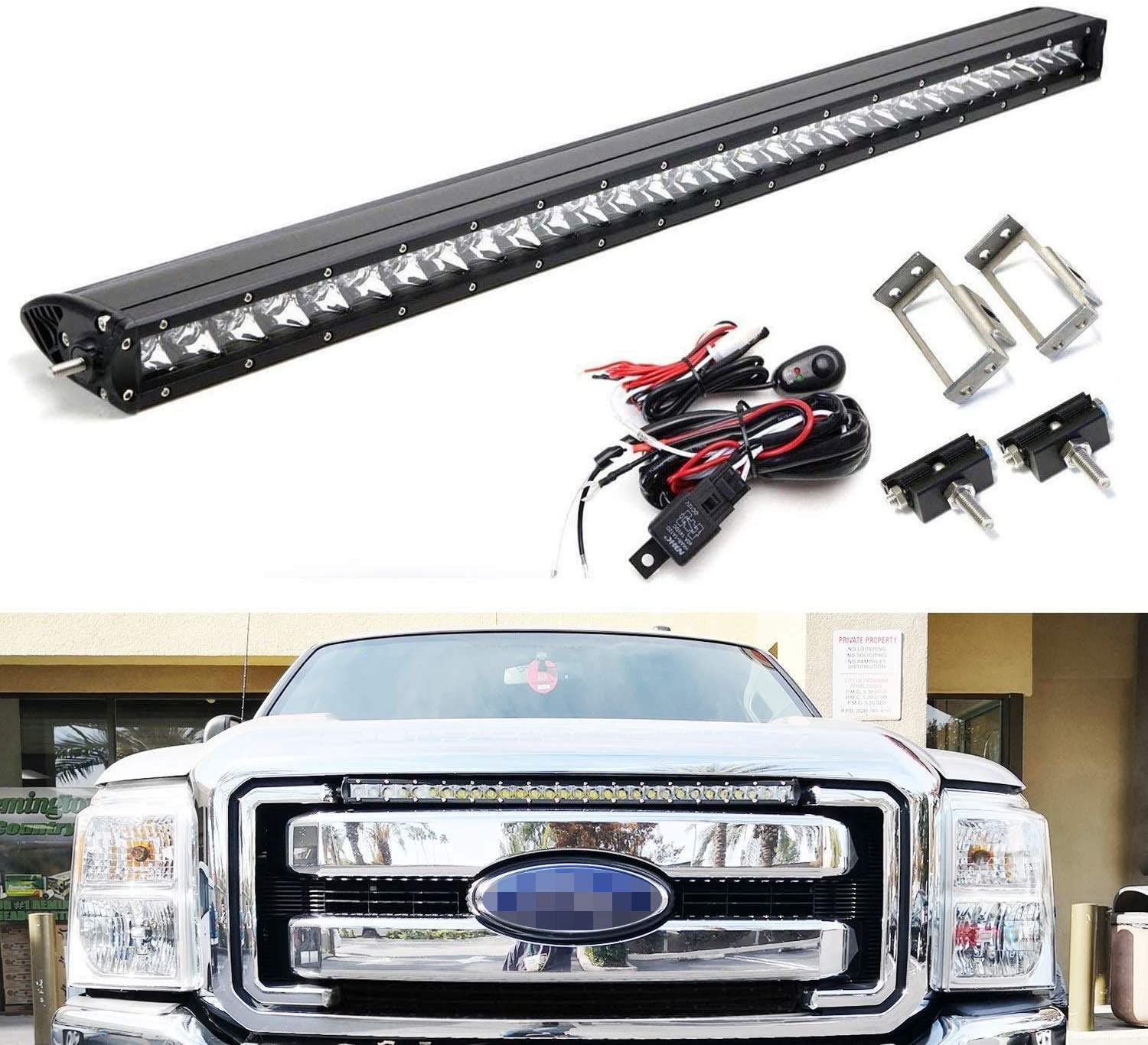 Amazon.com: iJDMTOY Upper Grille Mount 30-Inch LED Light Bar Compatible  With 2011-2016 Ford F250 F350 Super Duty, Includes (1) 150W High Power CREE LED  Lightbar, Grill Mounting Brackets & On/Off Switch Wiring:Amazon.com