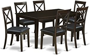 East West Furniture Small Dining Table Set 7 Pc - Faux Leather Kitchen Dining Chairs Seat - Cappuccino Finish Dining Room Table and Structure