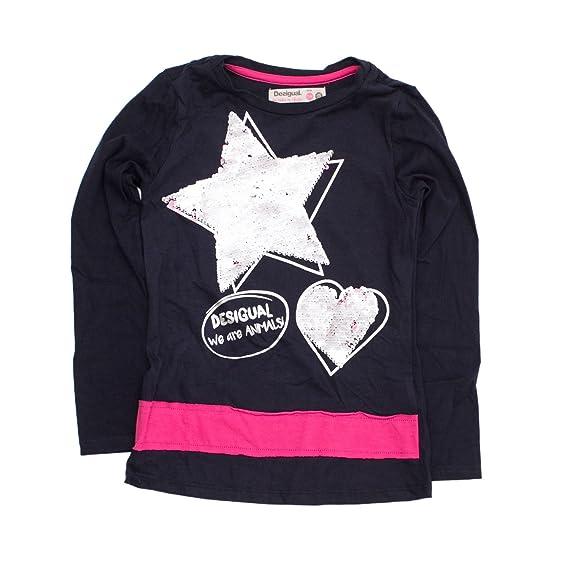 9ccb3f8264cf9 Desigual T-Shirt Manches Longues Fille TS Hamilton 18WGTK76 7 8 Bleu   Amazon.fr  Vêtements et accessoires