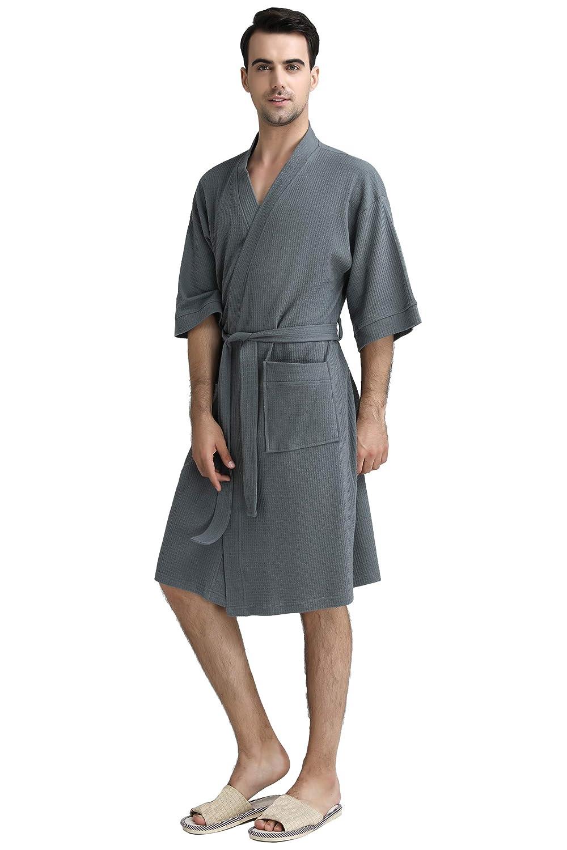 a65c7c71739 Cahayi Women Bathrobe Cotton Summer Long Mens Robe Sleepwear Housecoat  Pajamas at Amazon Women s Clothing store