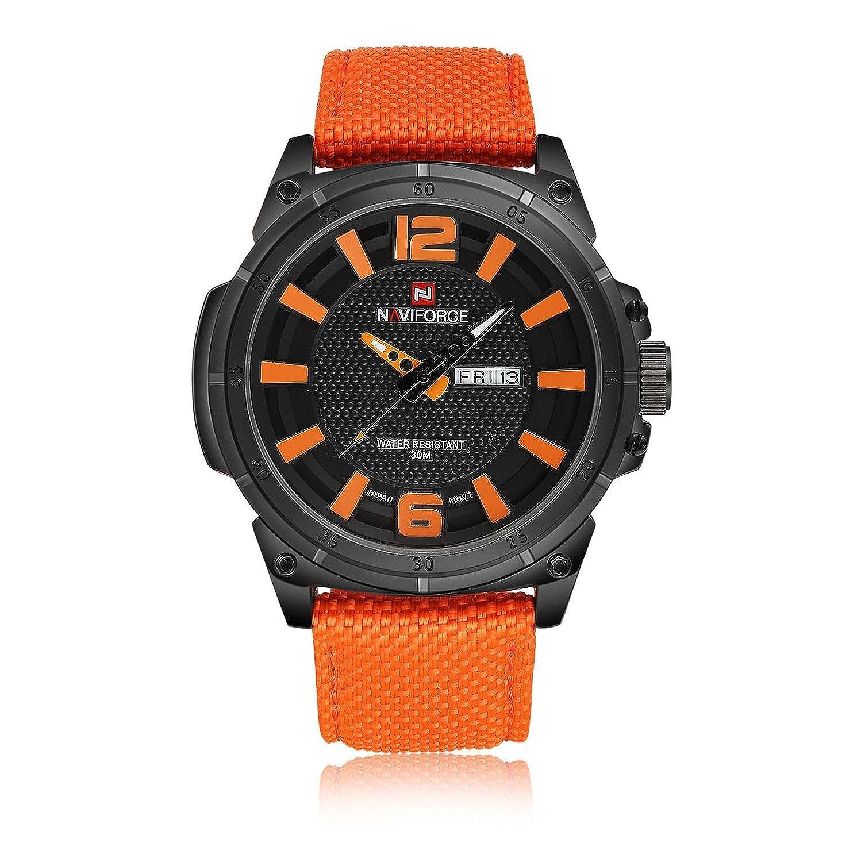 4b7f418fce81 GuTe sintética correa de nailon analógica Dial auto Fecha Alto Impacto para  hombre de la moda de cuarzo reloj de pulsera Negro y Naranja