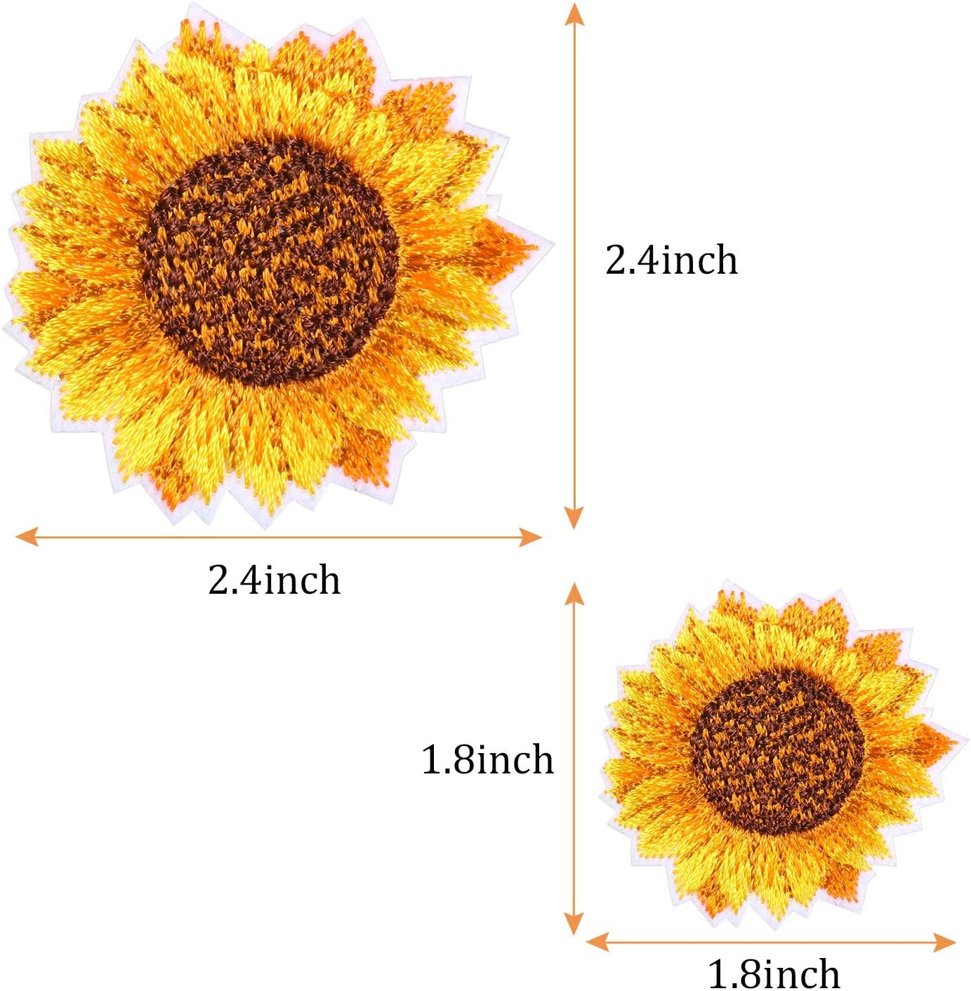 Sunflower Embroidery Patches Iron and Sew On Applique Badge for Clothes Jeans Jacket Hat Dress DIY Accessories 16 Pieces