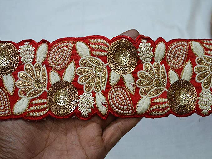 3quot Wholesale Red Crafting Ribbon Home Decor Boho Trim Embroidered Trims Sewing Fabric Lace Silk