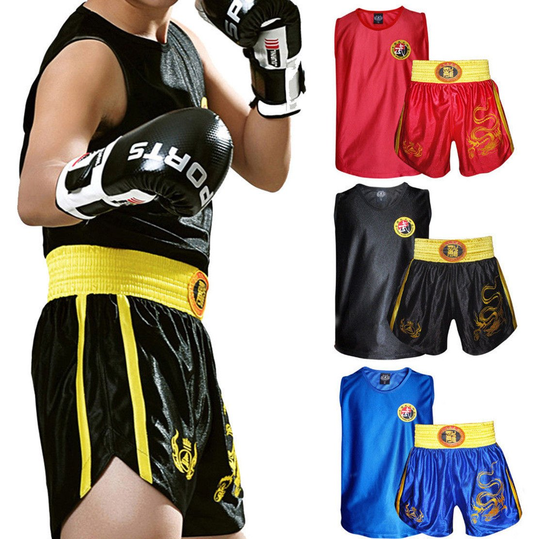 Sports & Entertainment Boxing Muay Thai Pants Embroidered Satin Boxing Pants Trousers Shorts Sanda Fight Training Suit Martial Arts Clothes Boxing Jerseys Products Are Sold Without Limitations