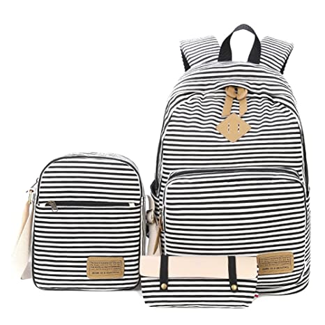 MiCoolker Canvas Backpack Set 3 Pieces Fashion Casual Stripes Bag Outdoor  Travel Multi-functional Shoulder 4b51f57f6ccd4