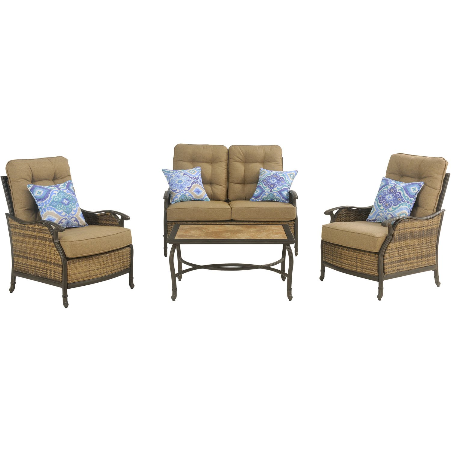 Amazon.com : Hanover Hudson Square 4 Piece Outdoor Deep Seating Lounge Set,  Multi : Garden U0026 Outdoor