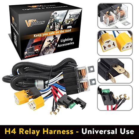 amazon com partsam h4 9003 headlight relay wiring harness kit high rh amazon com philips h4 headlight bulbs wiring kit harness with relay h4 headlight wiring harness