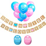 IHOPES+ Boy or Girl Banner and Gender Reveal Balloons Decorations for Baby Shower Gender Reveal Party Pregnancy Announcement