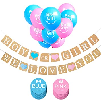 amazon com ihopes boy or girl banner and gender reveal balloons