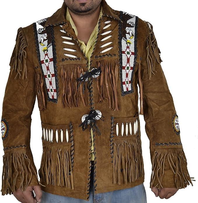 Chaqueta de Piel de Ante con Flecos para Hombre Vipconnection Western Cowboy
