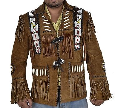 Sleekhides Mens Big Western Cowboy Suede Leather Jacket Fringed & Beaded ...