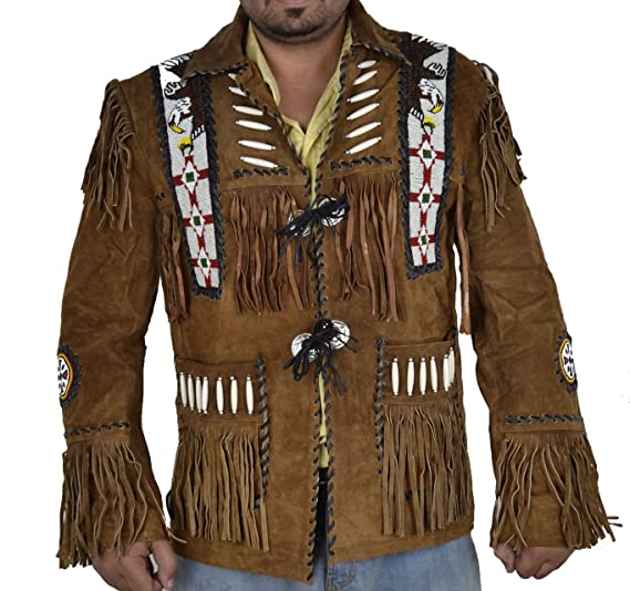 Sleekhides Mens Western Cowboy Suede Leather Jacket Fringed & Beaded Eagle Design at Amazon Mens Clothing store: