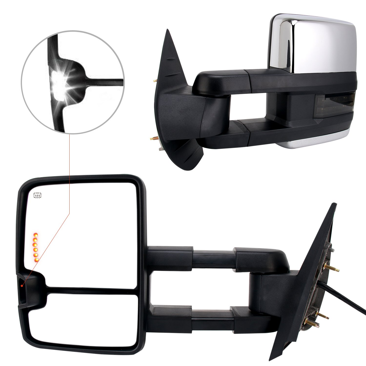 Perfit Zone Towing Mirrors Replacement fits for 07-14 CHEVY SILVERADO//GMC SIERRA W//AMBER SIGNAL,BLACK POWER HEATED PAIR SET